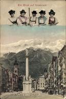 Cp Innsbruck In Tirol, Blick In Die Maria Theresienstraße, Denkmal, Gruppe In Tracht - Costumes