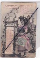 Thème Calendrier Mois De Septembre ; Jeune Femme Avec Hotte De Raisins-La Chanson Des Mois - Cartes Postales