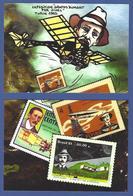 CPM Santos Dumont Tirage Limité Numéroté Signé En 30 Exemplaires Puzzle De 2 Cartes Philatélie Turin 1993 - Postzegels (afbeeldingen)