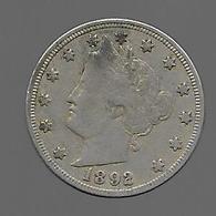 Etats Unis.  5 Cents 1892 (239) - EDICIONES FEDERALES