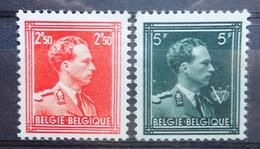 BELGIE 1956    Nr. 1006 - 1007    Leopold III    'open Kraag'   Tand. 11 1/2    (*)  Zonder Gom - 1936-1957 Open Collar