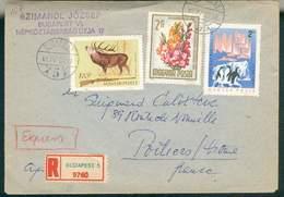 LETTRE HONGRIE MAGYAR RECOMMANDEE BUDAPEST POUR POITIERS 1965 AVEC THEME MANCHOTS TB - Trattato Antartico