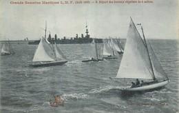 44 GRANDE SEMAINE MARITIME L.M.F. AOÛT 1908 . DEPART DES BATEAUX REGATIERS DE 6 METRES. - Nantes