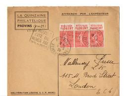 B19  1929  Lettre Avec TP Semeuse Bande Publicitaire Sujet Réglisse Pour Londres - 1921-1960: Période Moderne