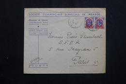 ALGÉRIE - Enveloppe Commerciale De Alger En 1948 Pour Paris, Affranchissement Plaisant -  L 62029 - Briefe U. Dokumente