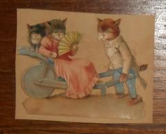 Découpis XIXe. Des Chats En Promenade. - Animals