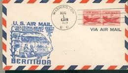ETATS-UNIS US NAVY LETTRE Washington 1947 BERMUDA Au Verso Flamme Rare Thème Manchot TB - Fauna Antartica