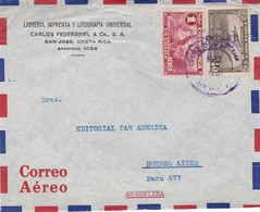 COSTA RICA COMMENCIAL COVER, CIRCULEE DE SAN JOSE A BUENOS AIRES, ARGENTINE AN 1940 PAR AVION. ONLY FRONT PART -LILHU - Costa Rica