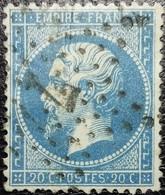 N°22. Variétés (Voir Cartouche Inférieur Partie Supérieure Du C Et Premier 20 Plus Gros). Oblitéré étoile De Paris N°7 - 1862 Napoléon III
