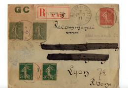 B19  1917 Lettre Recommandée En FM SP 105 Semeuse Avec Bande Intermédiaire N°7 Et 17 Pas Du Tout Courant Cachet Cire - WW I