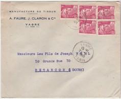 Enveloppe Commerciale 1949 / Aff Gandon X 5 / A. FAURE & J. CLARON/ Manufacture De Tissus / 81 Vabre / Tarn - Mapas