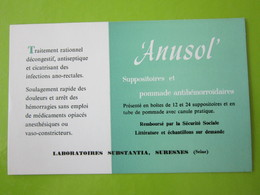 BUVARD - ANUSOL SUPPOSITOIRES Et POMMADE - LABORATOIRES SUBSTANTIA, SURESNES (seine) - Droguerías