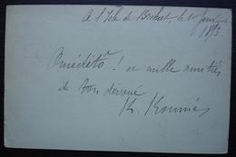 Ile De Bréhat 1893 (Bretagne), Entier Postal Pour Bruxelles (Belgique) - Marcofilie (Brieven)