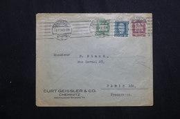 ALLEMAGNE - Enveloppe Commerciale De Chemnitz Pour Paris En 1924 Affranchissement Plaisant -  L 62047 - Storia Postale