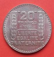 20 Francs Turin - 1934 - TTB+ - Frankreich