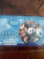RUSSIE RUSSIA PREPAID SOVINTEL LION LEO PANDA OURS BLANC WHITE BEAR 32U UT - Telefoonkaarten
