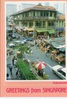 Singapour Très Animée Chinatown Voitures Commerces - Singapour