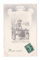 Bonne Année, Enfants, Femme, Luge Et Sapin, Illustrateur Non Signé, Vienne, Viennoise, éd. V.K. N° 5143, Gaufrée - Illustrators & Photographers