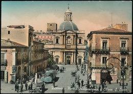 PATERNO' (CATANIA) - PIAZZA INDIPENDENZA E CHIESA DI S. LUCIA 1954 - Catania