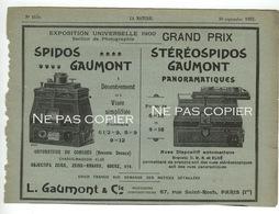 STÉRÉOSPIDOS GAUMONT Publicités Journal La Nature 1902 - Cámaras Fotográficas