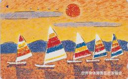 Télécarte DOREE JAPON / 110-166040 - Peinture - Bateau & Coucher De Soleil - SHIP & SUNSET JAPAN GOLD Phonecard - 04 - Japan