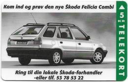 Denmark - Fyns - Skoda Felicia Combi Car - TDFP038 - 11.1995, 3.500ex, 5kr, Used - Denemarken