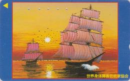 Télécarte DOREE JAPON / 110-187465 - Peinture - Bateau & Coucher De Soleil- SHIP & SUNSET JAPAN GOLD Phonecard - 07 - Japan
