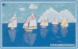 Télécarte DOREE JAPON / 110-206530 - Peinture - BATEAU VOILIER - SAILING SHIP JAPAN Painting GOLD Phonecard - 09 - Bateaux
