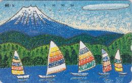 Télécarte DOREE JAPON / 110-011 - Peinture - BATEAU VOILIER & MONT FUJI - SAILING SHIP JAPAN Painting GOLD Phonecard  11 - Bateaux