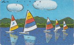 Télécarte DOREE JAPON / 110-011 - Peinture - BATEAU VOILIER - SAILING SHIP JAPAN Painting GOLD Phonecard - 12 - Bateaux