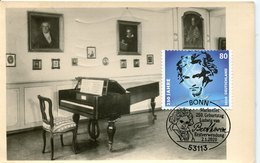 55039 Germany Maximum 2020 Ludwig Van Beethoven, First Day Postmark Bonn, Vintage Card - Musik