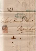 Año 1867 Edifil 96 50m Isabel II  Carta   Matasellos Cifra 15 Zaragoza Viuda De Fortea - 1850-68 Reino: Isabel II