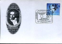 55040 Germany Special Postmark Hiddenhausen 26.1.2020 250 Year Birth Ludwig Van Beethoven, - Musik
