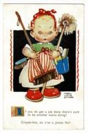 """Carte Illustrée Mabel Lucie Attwell """"Croyez-moi, On N'en A Jamais Fini ! Femme De Ménage Avec Tous Ces Ustensiles, 1960 - Attwell, M. L."""