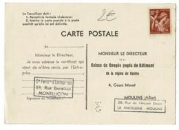 """Carte Postale """"Certificat De Travail, Pour La Caisse De Congés Payés Du Batiment"""" Circulé 1941, Montluçon, Moulins - Métiers"""