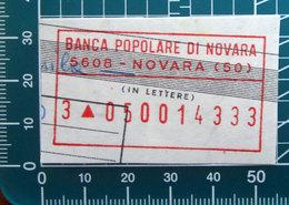Timbro Italia  Banca Popolare Di Novara - Novara - Frammento - Seals Of Generality