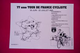 Buvard TOUR De FRANCE CYCLISTE, Juin Juillet 1990, Rose - Buvards, Protège-cahiers Illustrés