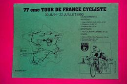 Buvard TOUR De FRANCE CYCLISTE, Juin Juillet 1990, Vert - Buvards, Protège-cahiers Illustrés