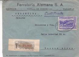 FERRETERIA ALEMANA SA. PARAGUAY COMMERCIAL COVER CIRCULEE DE ASUNCION A BUENOS AIRES, ARGENTINE AN 1940 RECOMMANDE LILHU - Paraguay