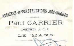 Traite 1904 / SARTHE / LE MANS / Paul CARRIER / Atelier De Constructions Mécaniques - Bills Of Exchange
