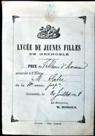 38 GRENOBLE LYCEE JEUNES FILLES  TABLEAU D'HONNEUR 1 RECOMPENSE  DISTRIBUTION DES PRIX 1898  PEDAGOGIE ENSEIGNEMENT - Grenoble
