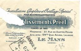 Traite 1924 / SARTHE / LE MANS / Etab PREEL / Installations Complètes Et Outillage Spécial Pour Bouchers-Charcutiers - Bills Of Exchange