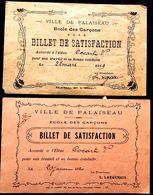 91 PALAISEAU ECOLE DE GARCONS  BILLET DE SATISFACTION 2 RECOMPENSES  DISTRIBUTION DES PRIX 1920  PEDAGOGIE ENSEIGNEMENT - Palaiseau