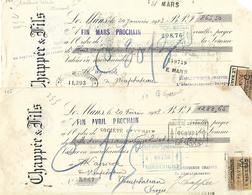 2 Traites 1923 / SARTHE / LE MANS / CHAPPEE & Fils / Fonderie - Bills Of Exchange