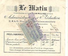 2 Traites 1919-20 / 75 PARIS Bd Poissonnière /Journal LE MATIN / Tarif Abonnement / Timbres Fiscaux - Bills Of Exchange