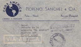 CASA AMERICA, LIBRAIRIE. PARAGUAY COMMERCIAL COVER, CIRCULEE ASUNCION A BUENOS AIRES, ARGENTINE AN 1945 PAR AVION -LILHU - Paraguay