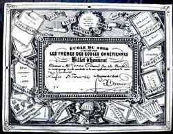 PEDAGOGIE ENSEIGNEMENT ECOLE DU SOIR DES FRERES DES ECOLES CHRETIENNES BILLET D'HONNEUR BELLE CALLIGRAPHIE 19° - Cartes Postales