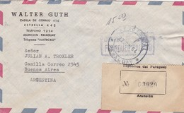 WALTER GUTH. PARAGUAY COMMERCIAL COVER, CIRCULEE ASUNCION A BUENOS AIRES, ARGENTINE AN 1964 PAR AVION RECOMMANDE -LILHU - Paraguay