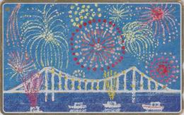 TC DOREE JAPON / 110-166043 - Peinture - BATEAU PONT & FEU D'ARTIFICE - SHIP & BRIDGE JAPAN Painting GOLD Phonecard - 14 - Bateaux