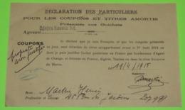 Document DÉCLARATION DES PARTICULIERS Pour Les COUPONS Et TITRES AMORTIS - 1918 - Acciones & Títulos